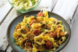 Recept Tagliatella met sausijs