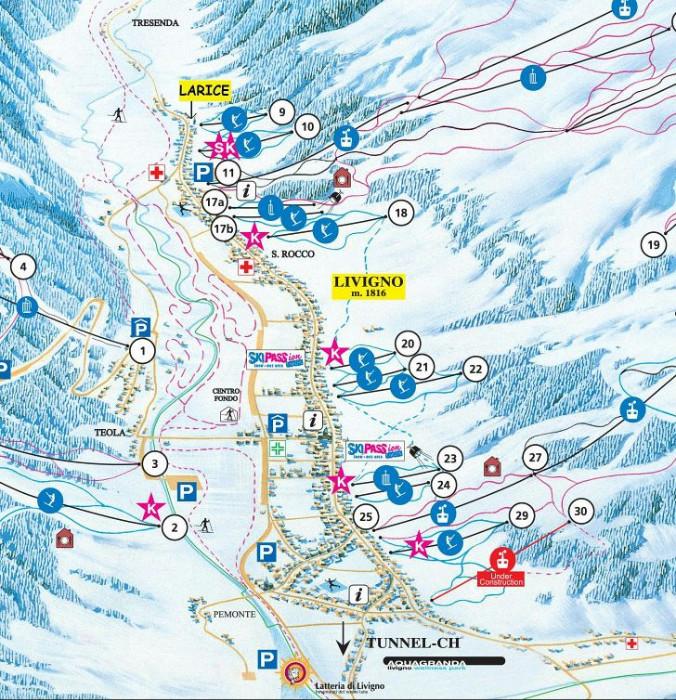 Skigebied Livigno Italie